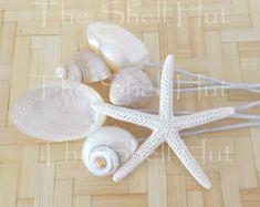 3 Seashell Snowflakes Christmas Ornament Shell Flower by shellhut