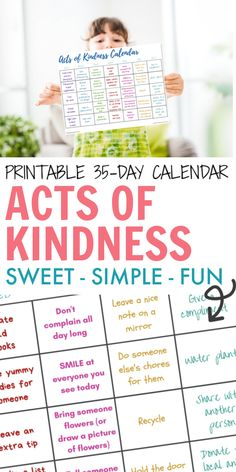 35 Thoughtful Random Acts of Kindness Calendar. 35 Simple tasks that only take a few minutes, don't cost a thing