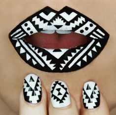 black and white geometric lips & nails