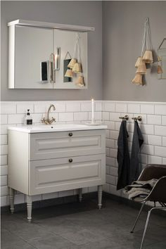 Blue Bathroom Vanity, Grey Bathrooms, Master Bathroom, Bad Inspiration, Bathroom Inspiration, Ikea Decor, Bad Styling, Welcome To My House, Bathroom Styling