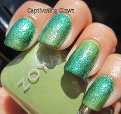 Captivating Claws: Rainbow Favorites-- Green. A Zoya Gradient featuring Zoya Tracie, Zoya Meg and Zoya Ivanka
