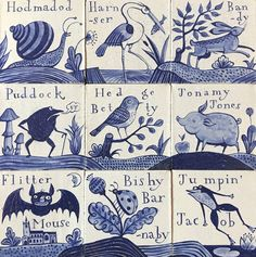 "robert-hadley: ""Delft tiles featuring names for animals in Norfolk dialect by Paul Bommer. Delft Tiles, Blue Tiles, Rustic Backsplash, Dutch Golden Age, Antique Tiles, Style Tile, Tile Art, Hand Painted Ceramics, Holland"