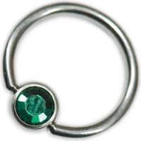Surgical Steel Dark Green Jewelled Ball Closure Rings