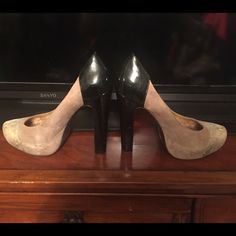 BCBG heels Black patent, taupe suede, and snake embossed print on toe, color block heels.  These are BCBG cuties with nicks on the heel so price will reflect. BCBG Shoes Heels