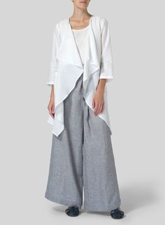 Linen Waterfall Open Jacket | A light and airy option to cover up in the warmer months. Best effect after being crumpled.