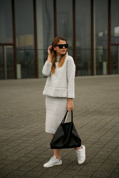 25 Ways to Wear Midi Skirts - matching fuzzy sweater + pencil skirt worn with white sneakers and a leather tote bag | StyleCaster