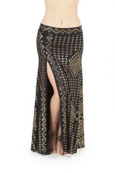 SMALL - BLACK/GOLD Faux Assuit Mythica Slit Skirt