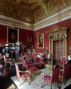 Houghton Hall ~ A portrait of Catherine the Great hangs above the fireplace in the Saloon which was designed by William Kent