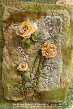Silk ribbon rose sampler on a hand-felted background - by Di van Niekerk <> (textile, fabric, fiber art) Embroidery Designs, Embroidery Kits, Embroidery Stitches, L'art Du Ruban, Band Kunst, Felt Roses, Felted Flowers, Paper Roses, Fabric Flowers