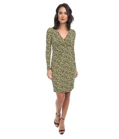 Calvin Klein Calvin Klein  Long Sleeve Printed Jersey Dress CD4AFTDE Chartreuse Multi Womens Dress for 70.99 at Im in!