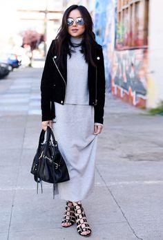 grey long turtleneck dress leather jacket street style