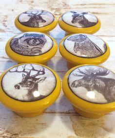 "Handmade 1.5"" Wildlife Animal Knobs, Set of 6 Knob Drawer Pulls, Woodland Cabinet Pull Handles, Wild Animal Dresser Knobs, Made To O by WoodlandCrew on Etsy"
