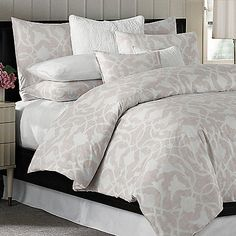 The Poetical pink duvet cover from Barbara Barry brings the soft drama of nature into your bedroom. This beautiful bedding has a large modern floral design that's both bold and soothing and is featured on soft, crisp 100% combed cotton percale.