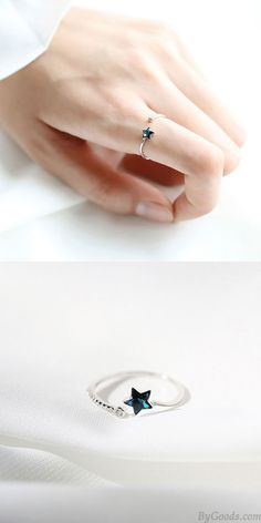Cheap Cute Blue Star Crystal Silver Simple Female Open Ring For Big Sale! Silver Accessories, Women Accessories, Fashion Accessories, 925 Silver, Silver Rings, Hollow Heart, Animal Rings, Crystal Fashion, Rings For Girls