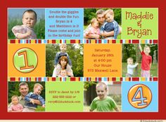Double Photo Sibling Birthday Invitation