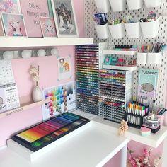 Likes, 340 Comments - Bujo journal identity Craft Room Design, Room Design Bedroom, Girl Bedroom Designs, Room Ideas Bedroom, Game Room Design, Cute Room Ideas, Cute Room Decor, Craft Room Organisation, Stationary Organization