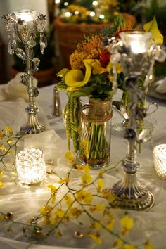 Silver and yellow wedding reception details.