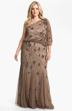 Adrianna Papell Beaded One Shoulder Gown (Plus) | Nordstrom