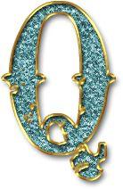 Alfabeto de Fondo Azul Claro con Orilla en Oro.