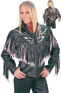 Black and Pink Leather Jacket with Fringe and Tattoo Flame Inlays
