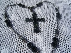 Cross Necklace... with gun metal and magnetic beads