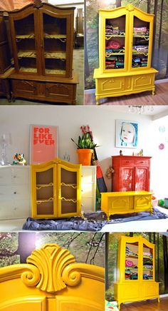Bright yellow hutch. I absolutely love all the vibrant colors like this in a home.  I love the idea of painting old furniture and giving it life!