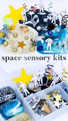 Houston, we have a problem... this kit is too fun to pass up on! The space kit is packed to the brim with astronauts, stars, meteoroids, aliens, space ships, planets, and so much more! Let your little ones imaginations soar to their own little world as they create and explore with the scented Milky Way dough, act out the first trip to the moon, or set up an alien space rescue mission!  Sensory play is so important for children and allows them to learn so much about the world around them. Sensory Bins, Sensory Activities, Sensory Play, Preschool Activities, Space Activities For Kids, Crafts For Kids, Diy Crafts, Kid Connection Toys, Play Doh Kits