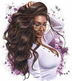Pin by dave c on new art nov Black Love Art, Black Girl Art, Fantasy Art Women, Fantasy Girl, Cartoon Kunst, Cartoon Art, Chica Fantasy, Belle Silhouette, Girly Drawings