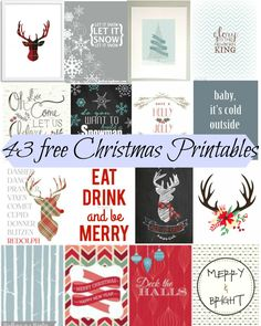 December 43 Free and Beautiful Christmas Printables. These are genius to decorate with during the holiday. because they're free! Great for a gallery wall. Noel Christmas, Christmas Signs, Christmas Projects, All Things Christmas, Winter Christmas, Holiday Crafts, Holiday Fun, Christmas Decorations, Xmas
