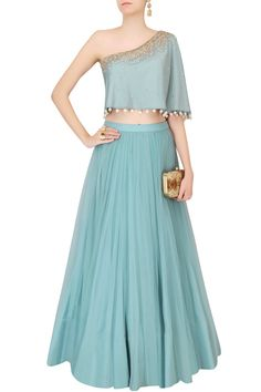 Frost blue sequinned cape top with tulle skirt by MONIKA NIDHII #MonikaNidhi…