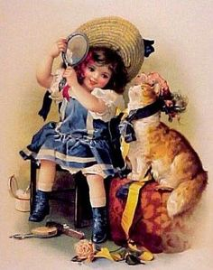 Victorian Girl with Cat