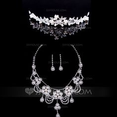 Flower Shaped Alloy/Pearl With Rhinestone Ladies' Jewelry Sets (011040409)