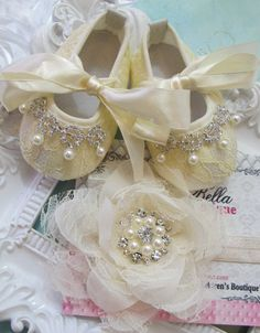 Baby Girl  Champagne Creamy lace headband by TheBabyBellaBoutique, $28.00