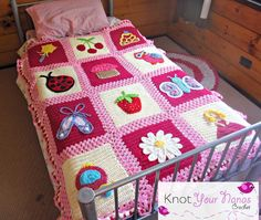 This blanket was designed with my daughter in mind. I wanted to include things that would appeal to young girls. This eBook includes the pattern for the main blanket and all 12 appliques.