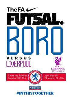 Middlesbrough #Futsal match poster v Liverpool