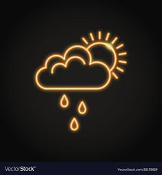 Sun behind cloud with rain neon icon Royalty Free Vector , Iphone Wallpaper Logo, Neon Wallpaper, Aesthetic Iphone Wallpaper, Neon Wall Signs, Led Neon Signs, Iphone App Design, Iphone App Layout, Neon Light, Snapchat Icon