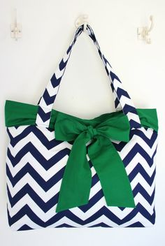 Navy and White Chevron Handbag with Emerald by allisonblaylock, $45.00