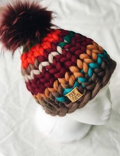 Excited to share this item from my shop: Women's wool knit hat, Helsinki Hat, Super chunky hat with pom pon, Knit Hat. Vogue Knitting, Arm Knitting, Knitting Patterns, Crochet Patterns, Knitted Blankets, Knitted Hats, Multi Coloured Hats, Crochet Baby, Knit Crochet
