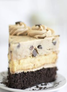 Chocolate Chip Cookie Dough Devils Food Cake Cheesecake.. seriously I might die.