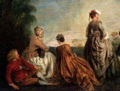 Jean-Antoine Watteau - La proposition embarrassante (detail) - Huile sur toile, 65 x 85 cm - Circa 1716 - Musée de l'Hermitage, Saint-Petersbourg artismirabilis.com
