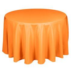 "90"" Round Polyester Orange Tablecloth | www.SmartyHadAParty.com"