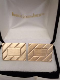Antique 14K Fine Solid Gold Classic Vintage Engraveable Rectangular Men's Cuff Links Patent Pendant Dates Cufflinks Cicra1949