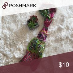 """Multicolored Skinny Scarf Multicolored, mostly pink and green Metallic threading throughout Width 9' Length72"""" Accessories Scarves & Wraps"""