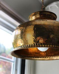 DIY: brass bowl into pendant light