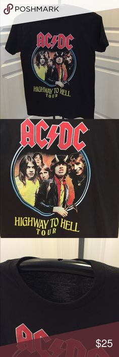 AC/DC 1979 Highway to Hell Tour T-Shirt/New Hard to find brand new AC/DC Highway to Hell 1979 World Tour tee, this is a licensed product and it has all the North American cities in the tour on the back.....new but no tags in Size L AC/DC Shirts Tees - Short Sleeve