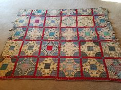 Antique Hand Made  Saw Tooth Circles in Red Squares Cutter Quilt