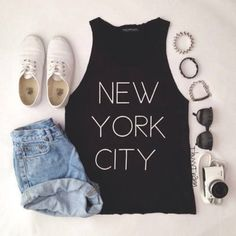 shirt, t-shirts, black t-shirt, new york, vintage, high-wasted denim shorts, white shoes, new york city, white writting, shoes, shorts - Wheretoget