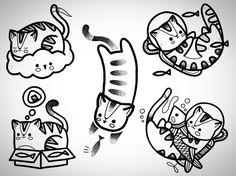 """38 curtidas, 1 comentários - Ari Tattoo (@aritattoo79) no Instagram: """"Diseños nuevos de gatitos!  Citas disponibles!, cualquier pregunta o cotización por whatsapp +569…"""" Tattoo Femeninos, Doodle Tattoo, Doodle Art, Tattoo Sleeve Filler, Sleeve Tattoos, Mini Tattoos, Body Art Tattoos, Tatoos, Hugo Tattooer"""