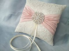 Blush Pink Ring Bearer Pillow Ivory Lace Ring Pillow by Allofyou