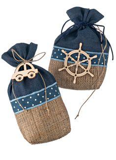 Burlap Denim favors Wheel pouch 30-150 p Navy theme Car Baptism favors guests nautical souvenirs for christening boy Travel party giveaway by eAGAPIcom on Etsy